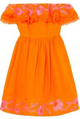 Mary Katrantzou Marietta Off-the-shoulder Embroidered Canvas Mini Dress