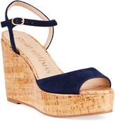 Stuart Weitzman Palmina Suede Cork Wedge Sandals