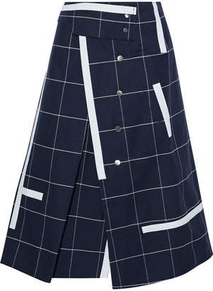 3.1 Phillip Lim Printed Checked Cotton-blend Twill Midi Wrap Skirt