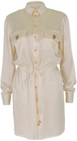 Relax Baby Be Cool Long Sleeve Silk Tie Up Shirt Dress White