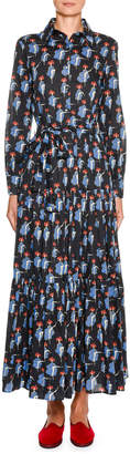 Marni Double J Bellini Button-Front Long-Sleeve Can Can-Print Cotton Shirtdress