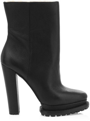 Alice + Olivia Holden Shearling-Lined Leather Lug-Sole Boots