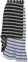 Preen by Thornton Bregazzi Don Striped Washed-silk Midi Skirt - Black