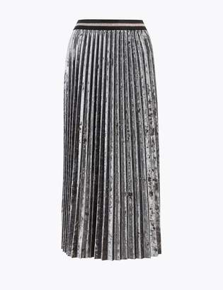 M&S CollectionMarks and Spencer Velvet Pleated Midi Skirt