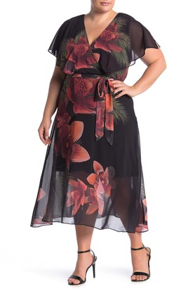 City Chic Tropical Floral Print Midi Dress (Plus Size)