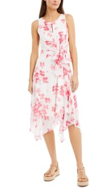 INC International Concepts Inc Floral-Print Handkerchief-Hem Midi Dress, Created for Macy's