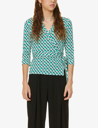 Diane von Furstenberg Abigail geometric-pattern wrap silk-knit top