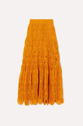 Loewe + Paula's Ibiza Crocheted Cotton Maxi Skirt - Orange