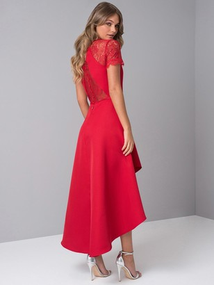 Chi Chi London Oti Lace Back High Low Midi Dress - Red