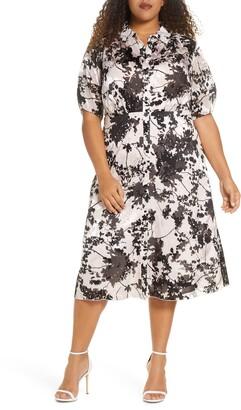 Marée Pour Toi Floral Burnout Shirtdress