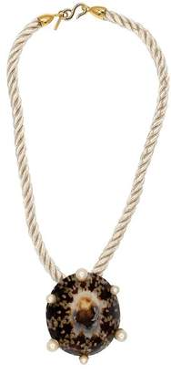 Kenneth Jay Lane Ivory Rope Vintage Natural Shell Pendant Necklace