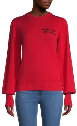 Maje Embellished Rib-Knit Cotton-Blend Sweater