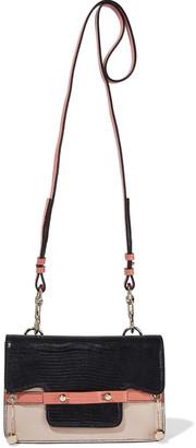 Red(V) Barbelle Color-block Glossed Lizard-effect Leather Shoulder Bag