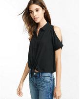 Express tie-front short sleeve cold shoulder shirt