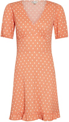 Miss Selfridge Orange Spot Print Fit and Flare Dress