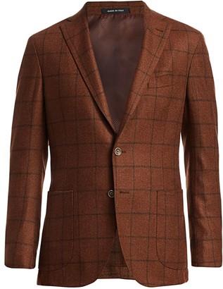 Saks Fifth Avenue Tweed Windowpane Wool Soft Suit Jacket