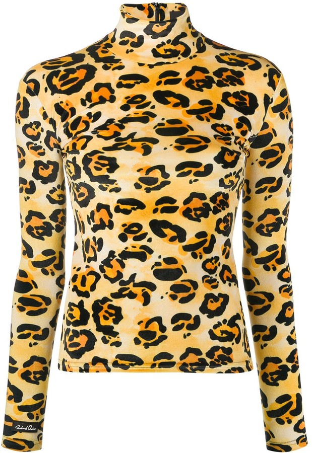 Richard Quinn Turtle Neck Leopard Printed Top