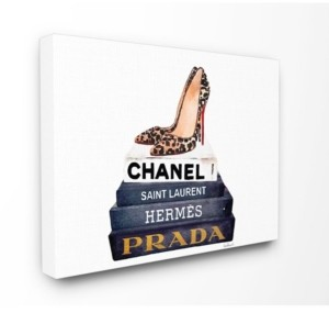 "Stupell Industries Glam Fashion Book Set Leopard Pumps Heels Canvas Wall Art, 16"" x 20"""