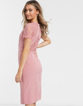 Chi Chi London lace panelled cut out back dress in pink