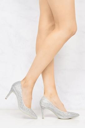 Miss Diva Binkies Diamante Pointed Toe Court Shoe In Silver