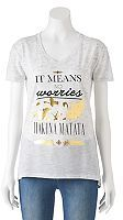"Disney Disney's The Lion King Juniors' ""It Means No Worries"" Graphic Tee"