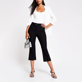 River Island Womens Black crop flare trouser