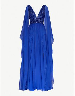 ZUHAIR MURAD V-neck flared silk-blend chiffon gown