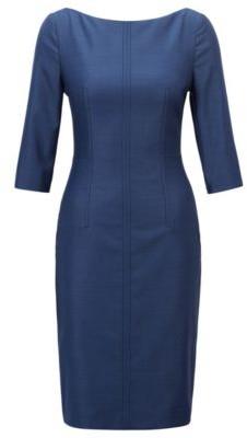 HUGO BOSS Slim Fit Business Dress In Virgin Wool Jacquard - Patterned