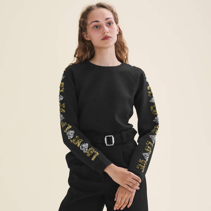 Maje Neoprene-look sweatshirt with sequins