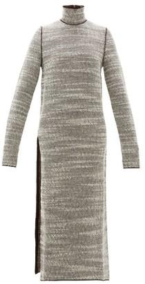 Jil Sander Slit Skirt Woven Wool Dress - Womens - Brown Multi