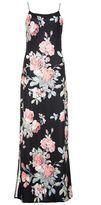 Quiz Black and Coral Floral Print Split Maxi Dress