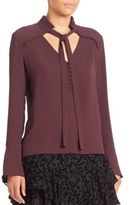 Yigal Azrouel Silk Tie-Neck Blouse