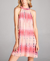 Jane Coral Tie-Dye Back Cut-Out Mock Neck Dress