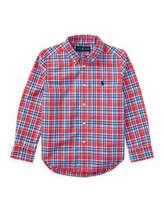Ralph Lauren Poplin Plaid Button-Down Shirt, Red, Size 5-7
