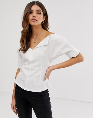 Asos Design DESIGN short sleeve off shoulder structured top in linen