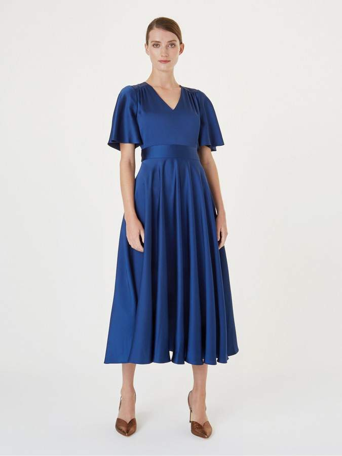 Hobbs Angelina Satin Fit and Flare Dress - Sapphire