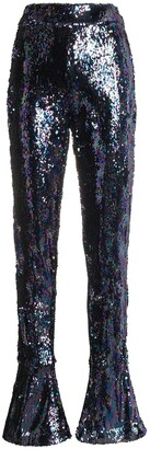 Halpern High Waist Sequin Flared Trousers
