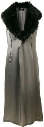 Comme Des Garçons Pre Owned Faux Fur Collar Dress
