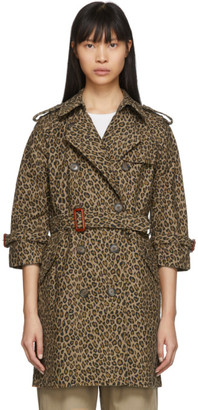 R 13 Tan and Black Leopard Raglan Sleeve Trench Coat