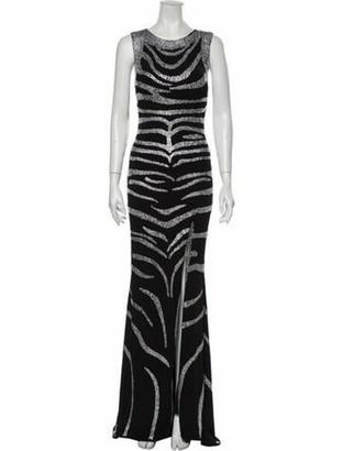 Jovani Printed Long Dress Black