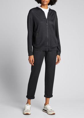 Brunello Cucinelli Cotton-Silk Sweatpants with Monili Trim