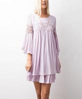 Jane Lavender Crochet Layered Bell-Sleeve Tunic