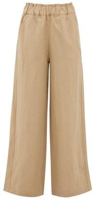 BEIGE Casa Raki - Natalia Wide-leg Linen Trousers - Womens