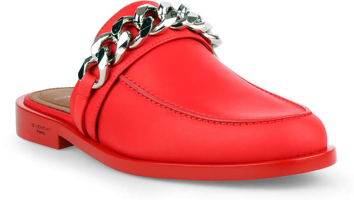 Givenchy Red leather chain loafer