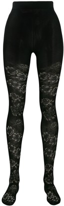 Chloé Floral-Embroidered Tights
