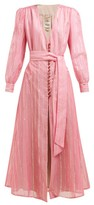 BLAZÉ MILANO Medusa Striped Cotton-blend Gauze Dress - Womens - Pink Stripe