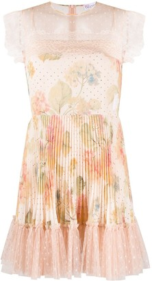 RED Valentino Floral Pleated Dress