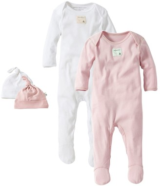 Burt's Bees Solid Organic Baby Footie Jumpsuit & Hat Sets 2 Pack