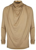 Balmain Camel Draped Wool Jersey Top