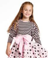 Pink & Black Stripe Jessy Cardigan - Girls